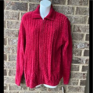 Alfred Dunner NWT New zip up front red sweater M